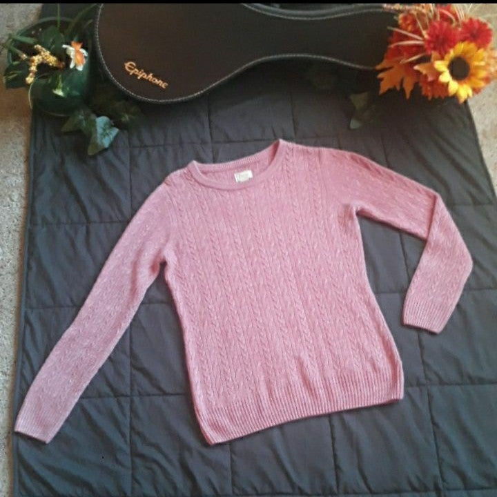 Bass Dusty Pink Cable Knit Sweater, M