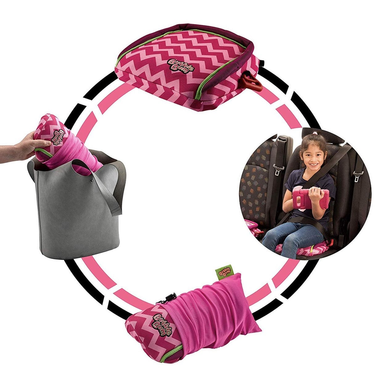 Pink bubblebum booster travel car seat