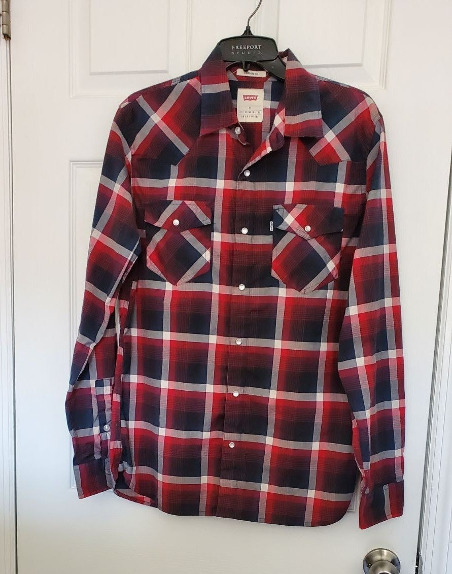 Mens Levi's Strauss Red Plaid Shirt Size