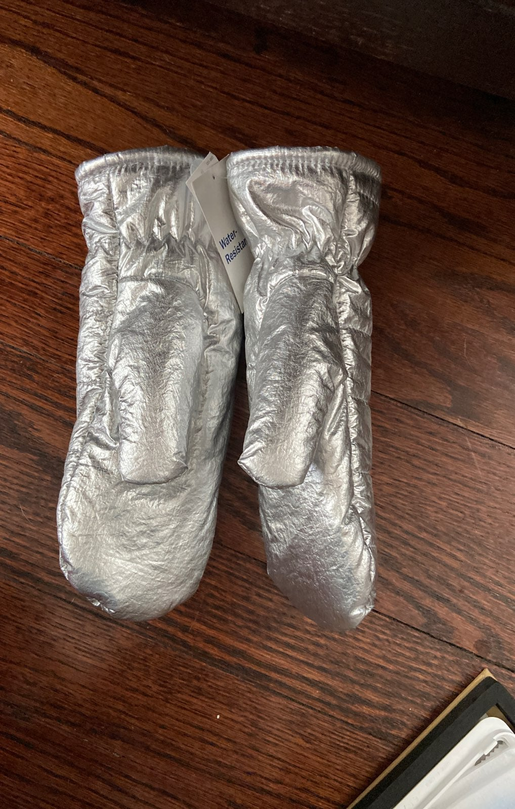 Silver insulated mittens