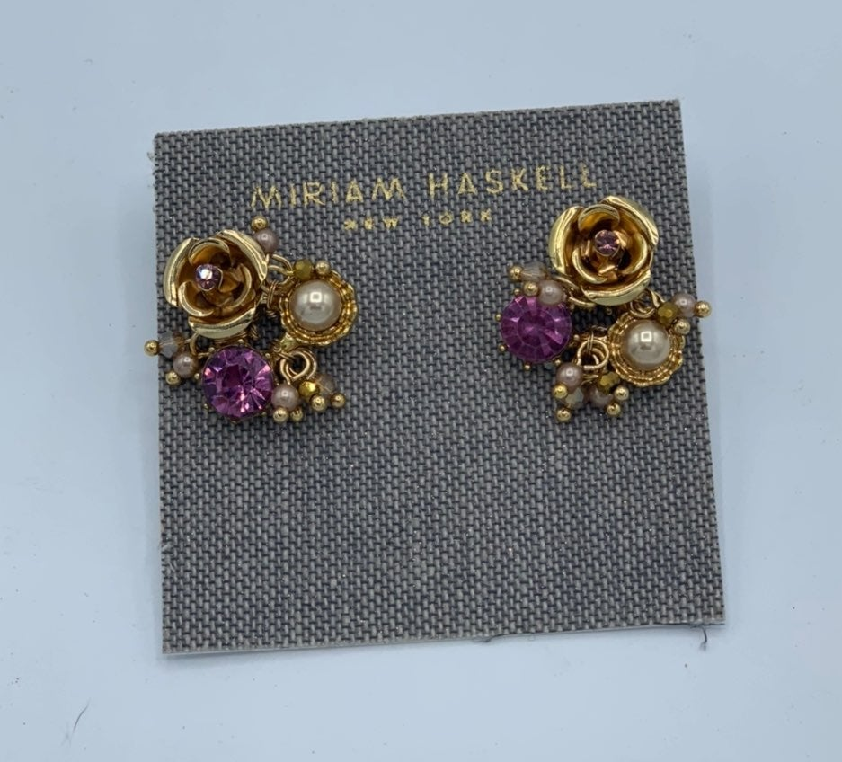 Miriam Haskell Gold Tone Rose Earrings