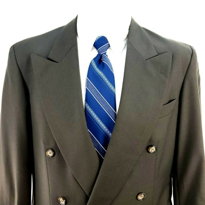 Savile Row 38R Double Breasted Green Woo