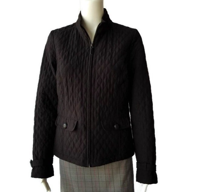 Merona Quilted Zip Black Jacket Small