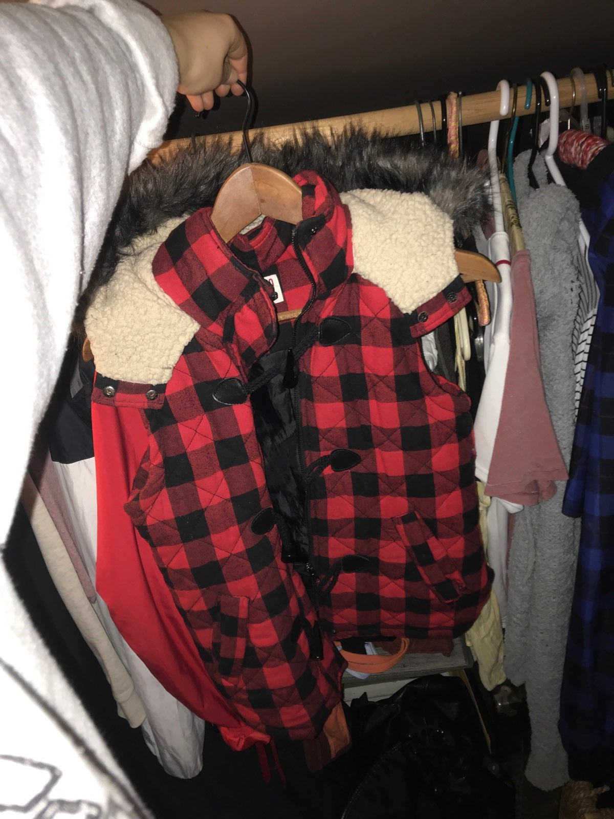 red plaid mossimo vest w/ faux fur hood