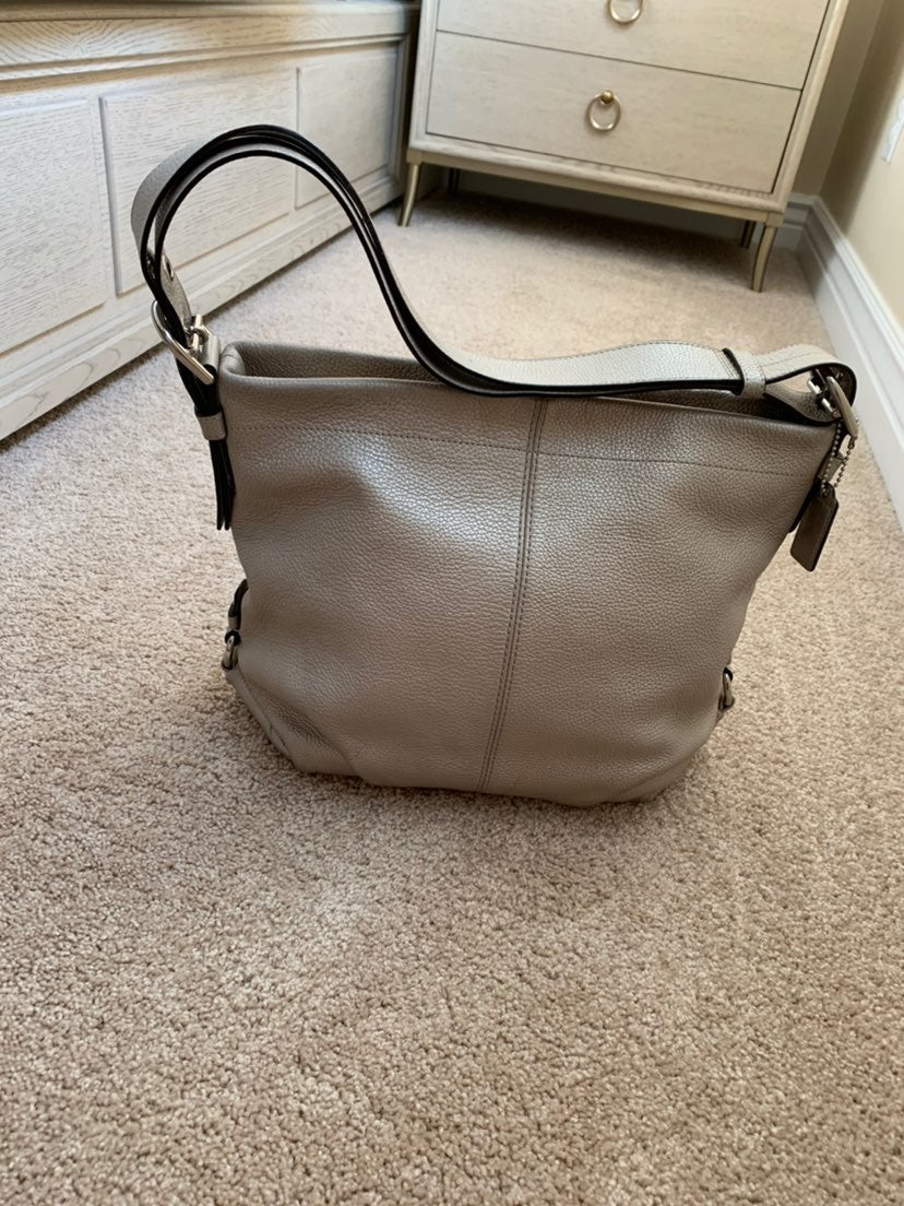 Leather coach shoulder crossbody bag