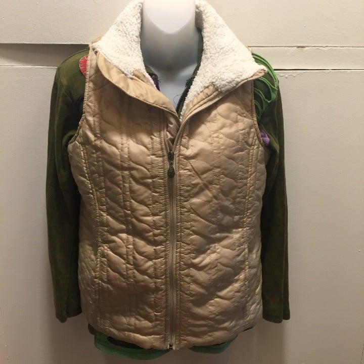 Laura Scott Beige Quilted Vest, S