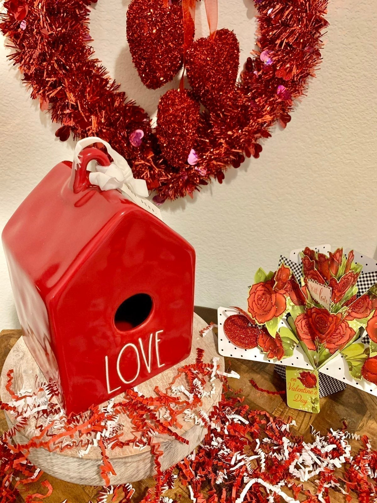 Rae Dunn Valentines Red LOVE Birdhouse