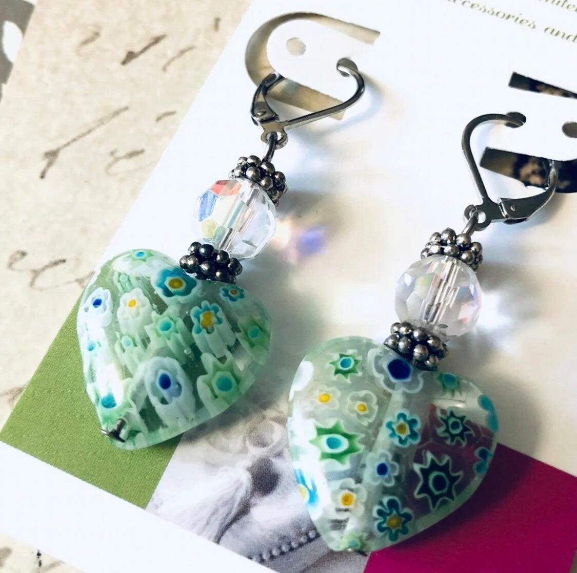 Blue earrings: heart lampwork glass NEW
