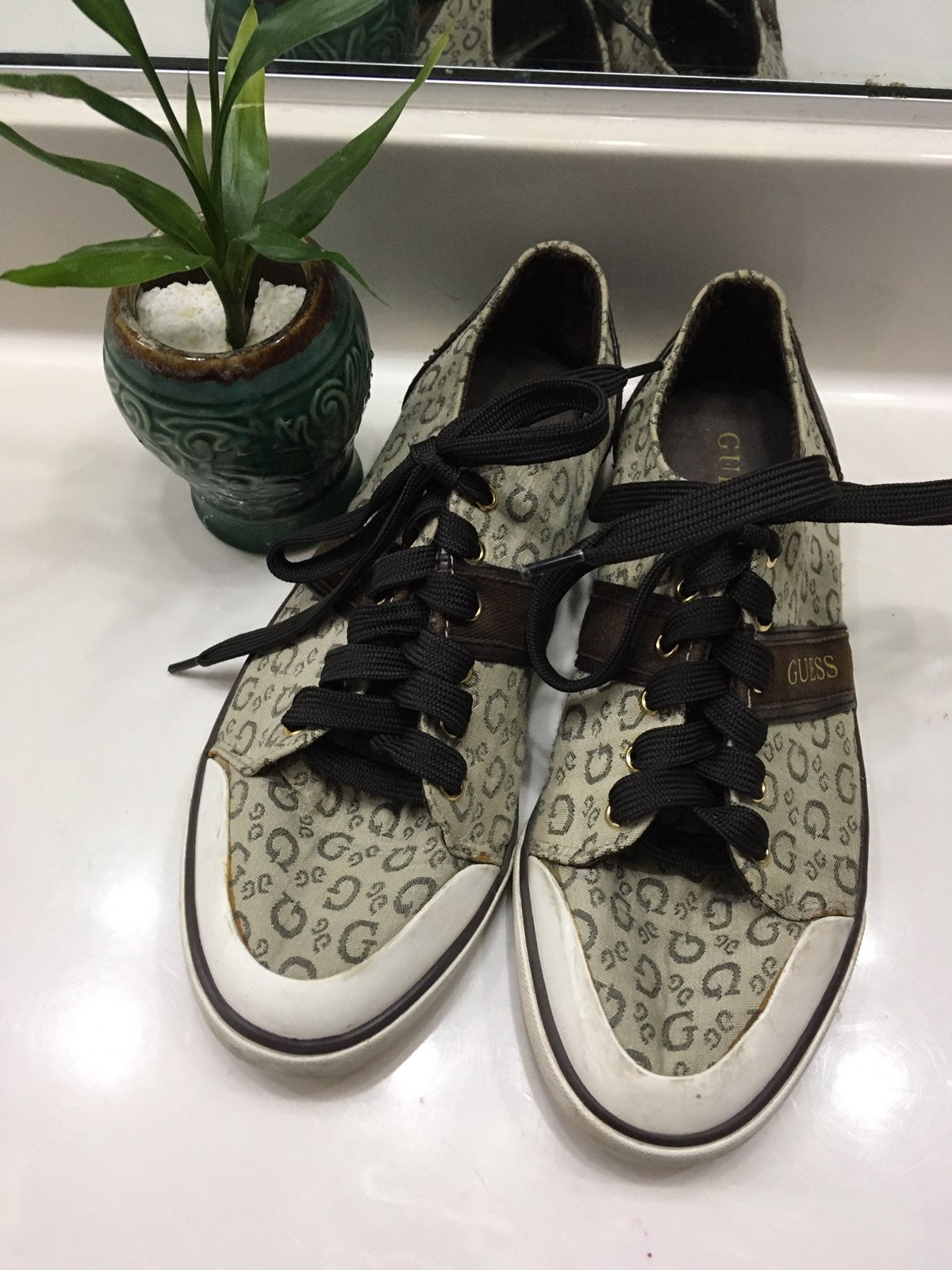Monogram Print  Lace Up Sneakers