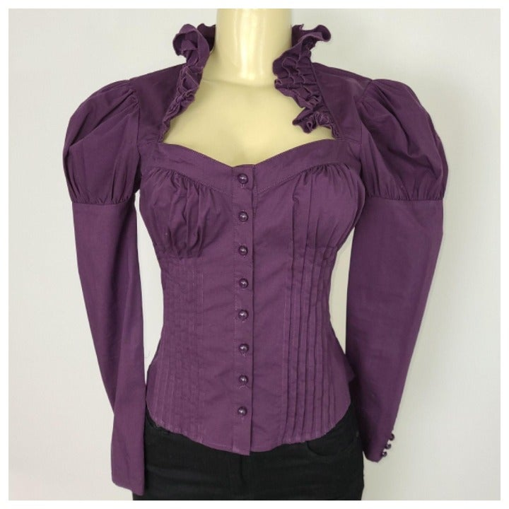 Purple Victorian Button Down Top Jr XS