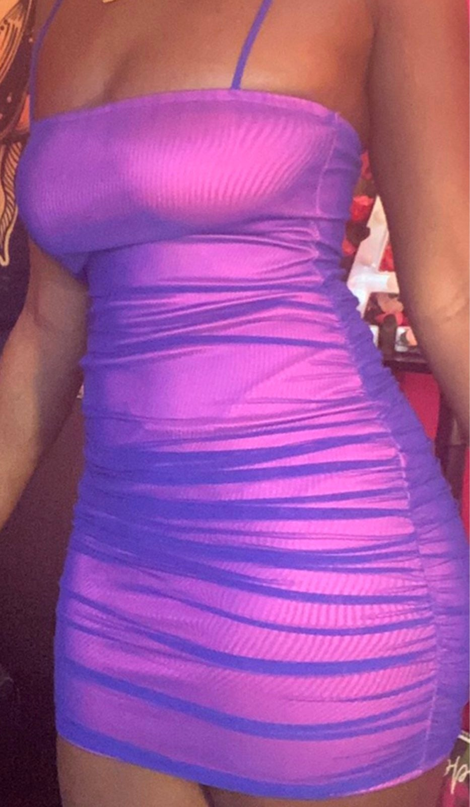 Iridescent Pink/Blue Mesh Bodycon Dress