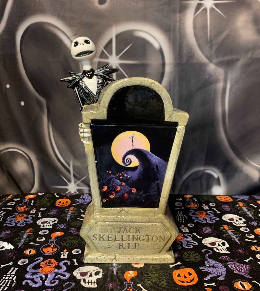 jack skellington tombstone cookie jar