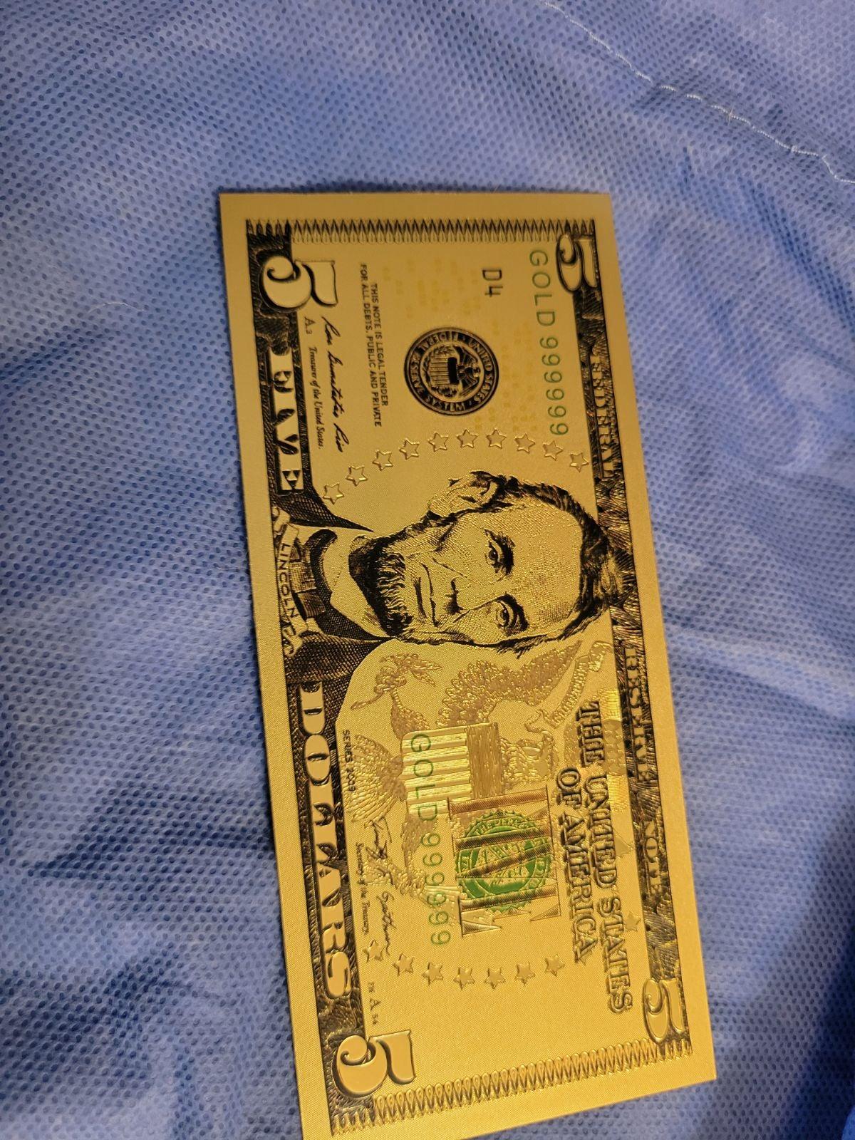 5 dollar Gold Foil Bill