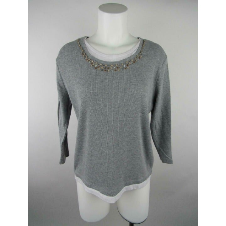 Jason Maxwell Heather Ribbed Knit Top