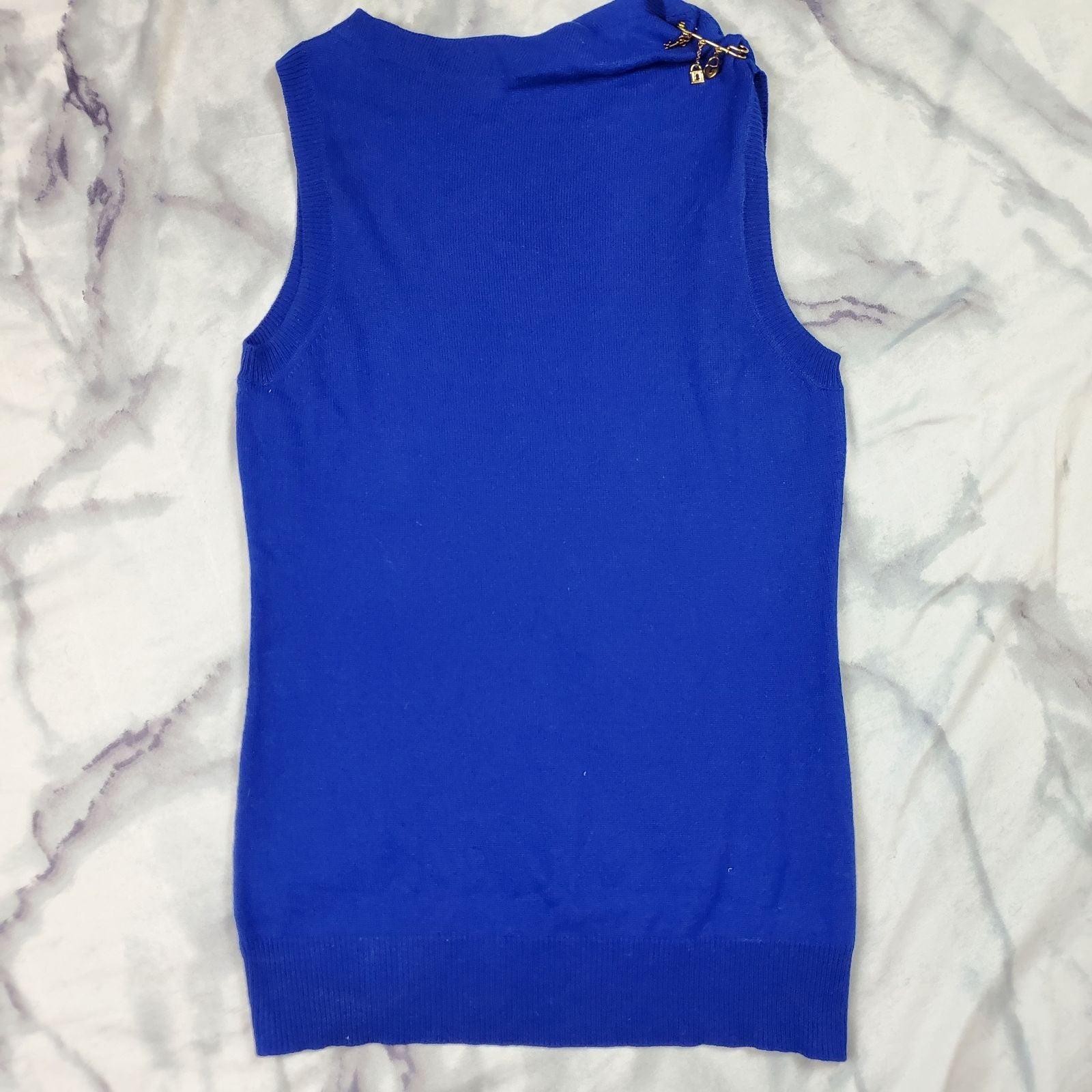 Silk cashmere blue slort sleeve blue