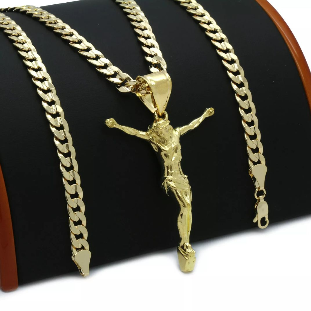 14k gold filled cuban chain w jesus pend