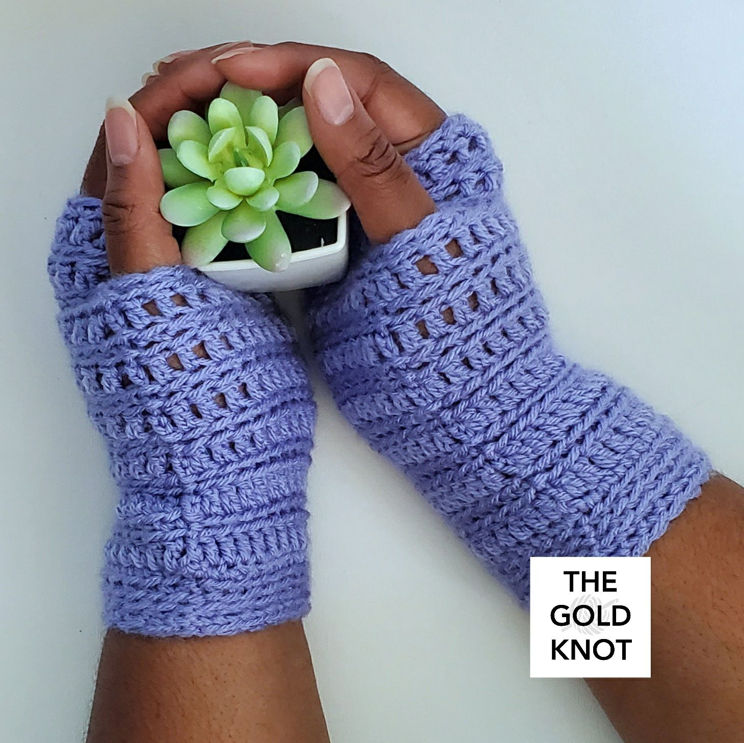 Periwinkle Crochet Fingerless Mittens