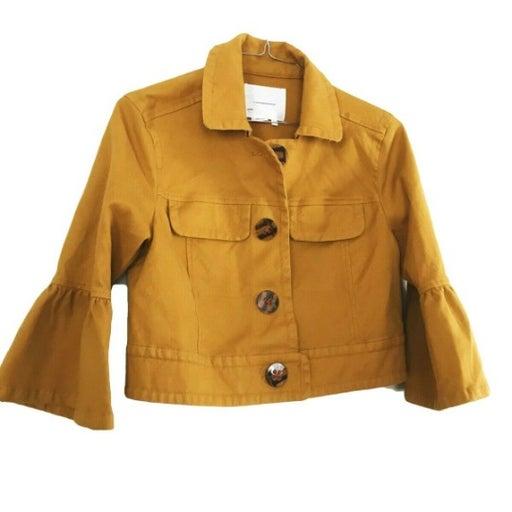 Anthropologie Mustard Jacket Flounced Sl