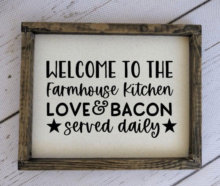 Farmhouse Kitchen, Rustic Canvas Sign