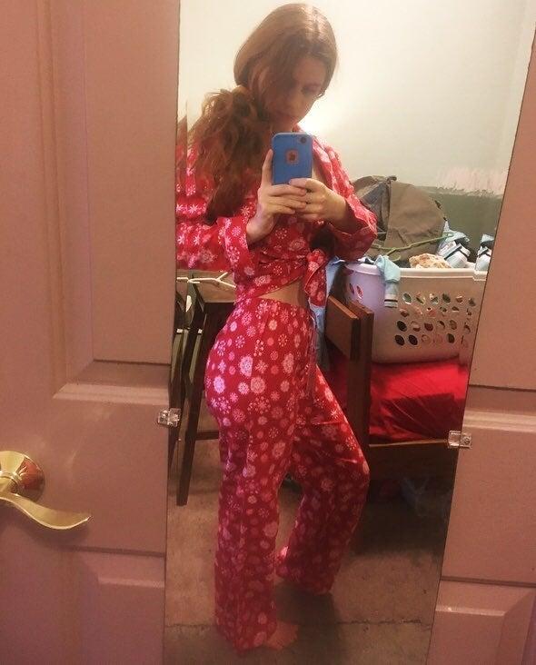 Red & Pink Snowflake Printed Pajama Set