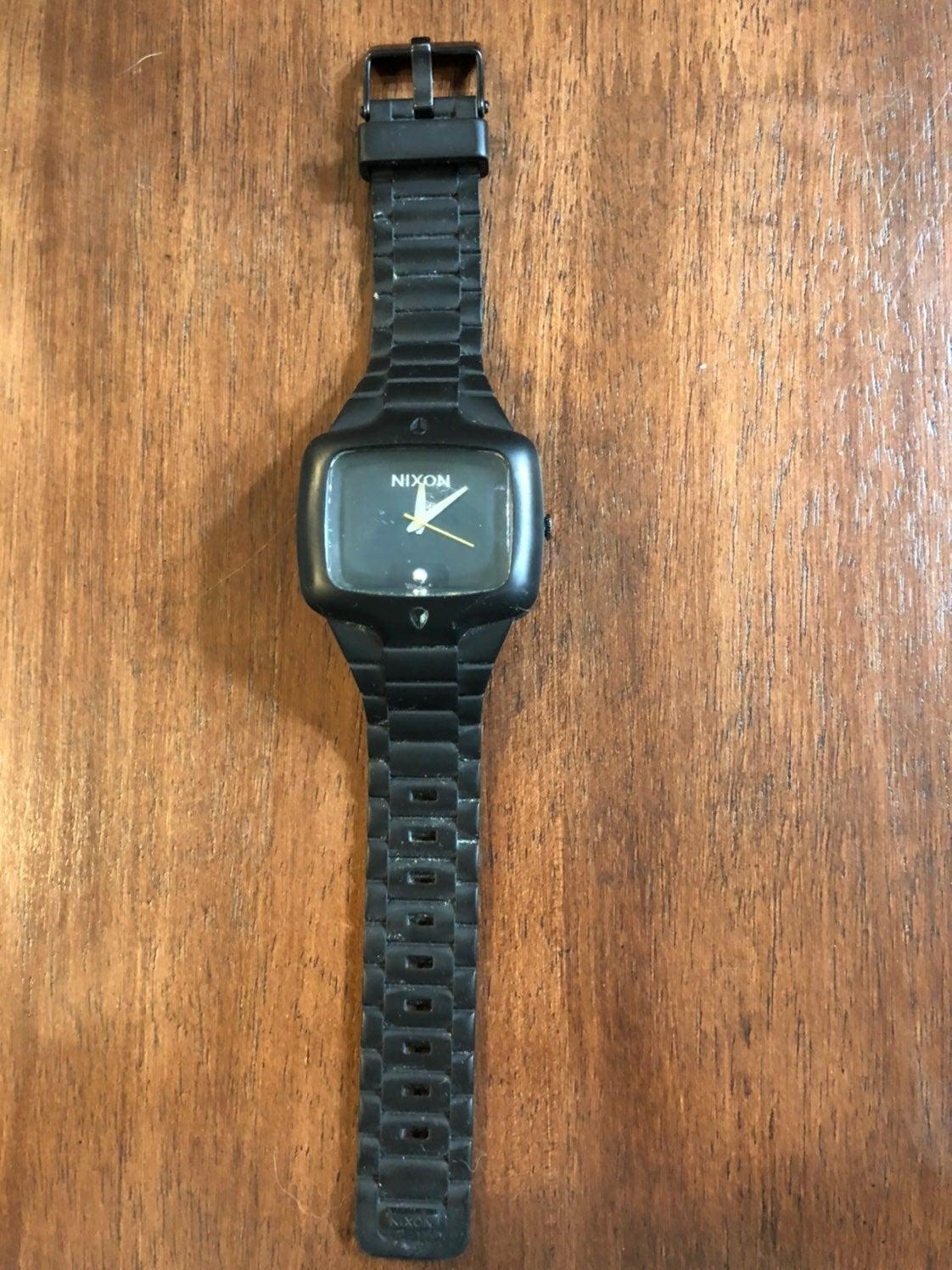 Men's Nixon Black Rubber Watch