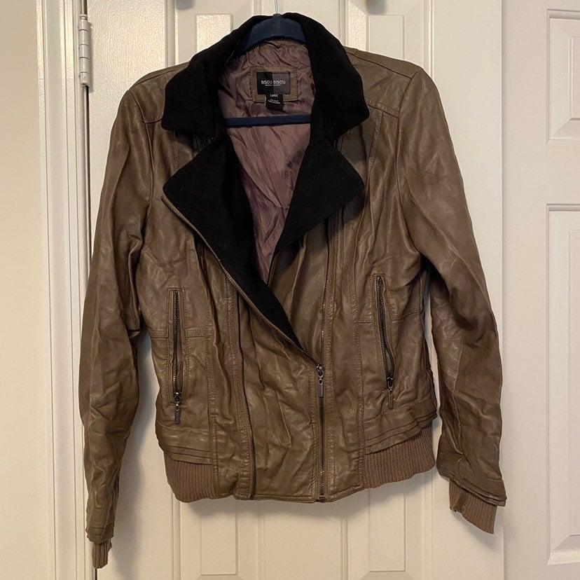 Bisou Bisou Faux Leather Bomber Jacket