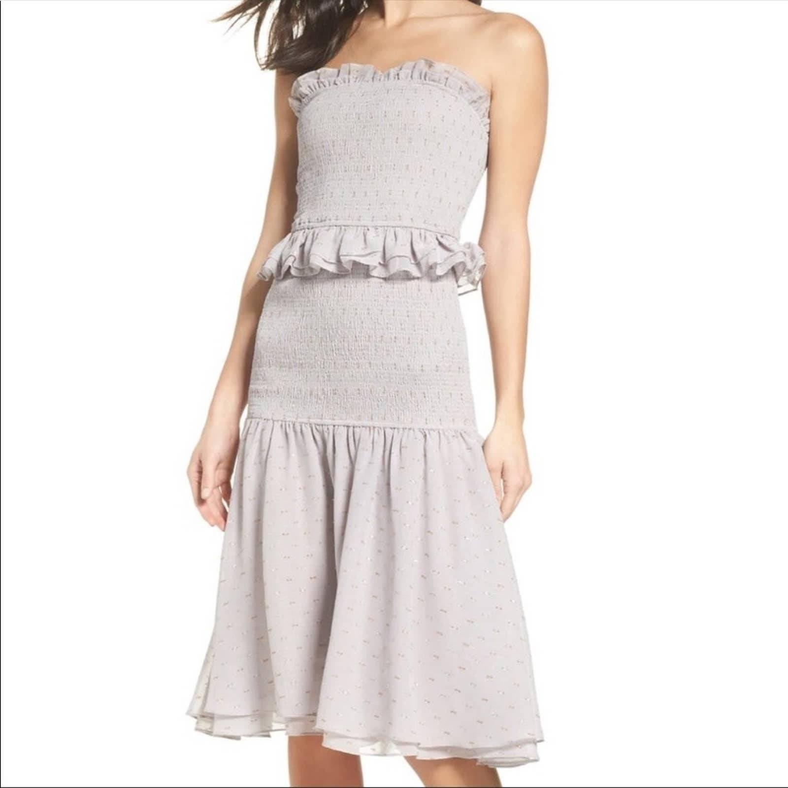Cooper St Grey Smocked Midi Dress