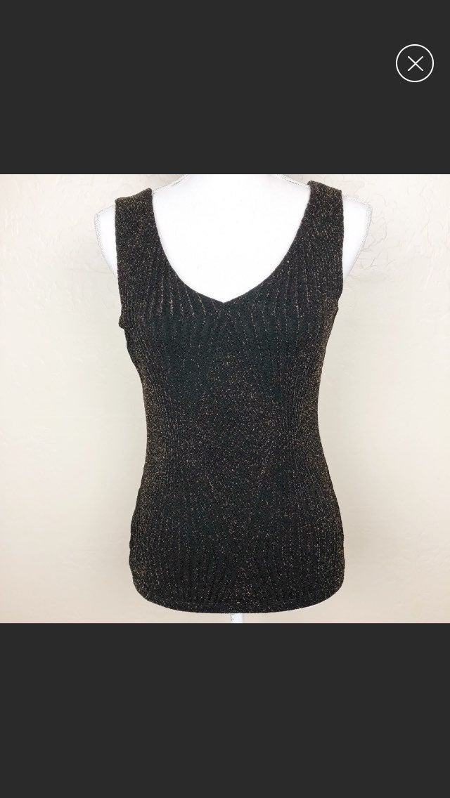 CACHE black and metallic gold  tank top.