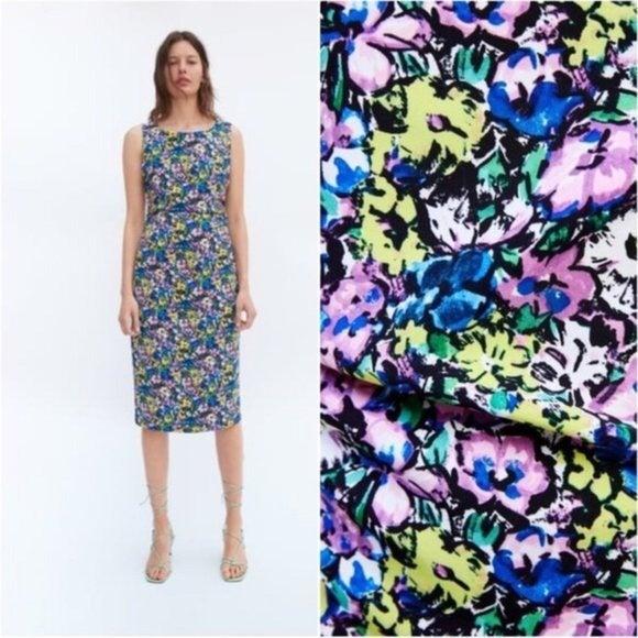ZARA Floral Ruched Midi Sheath Dress M