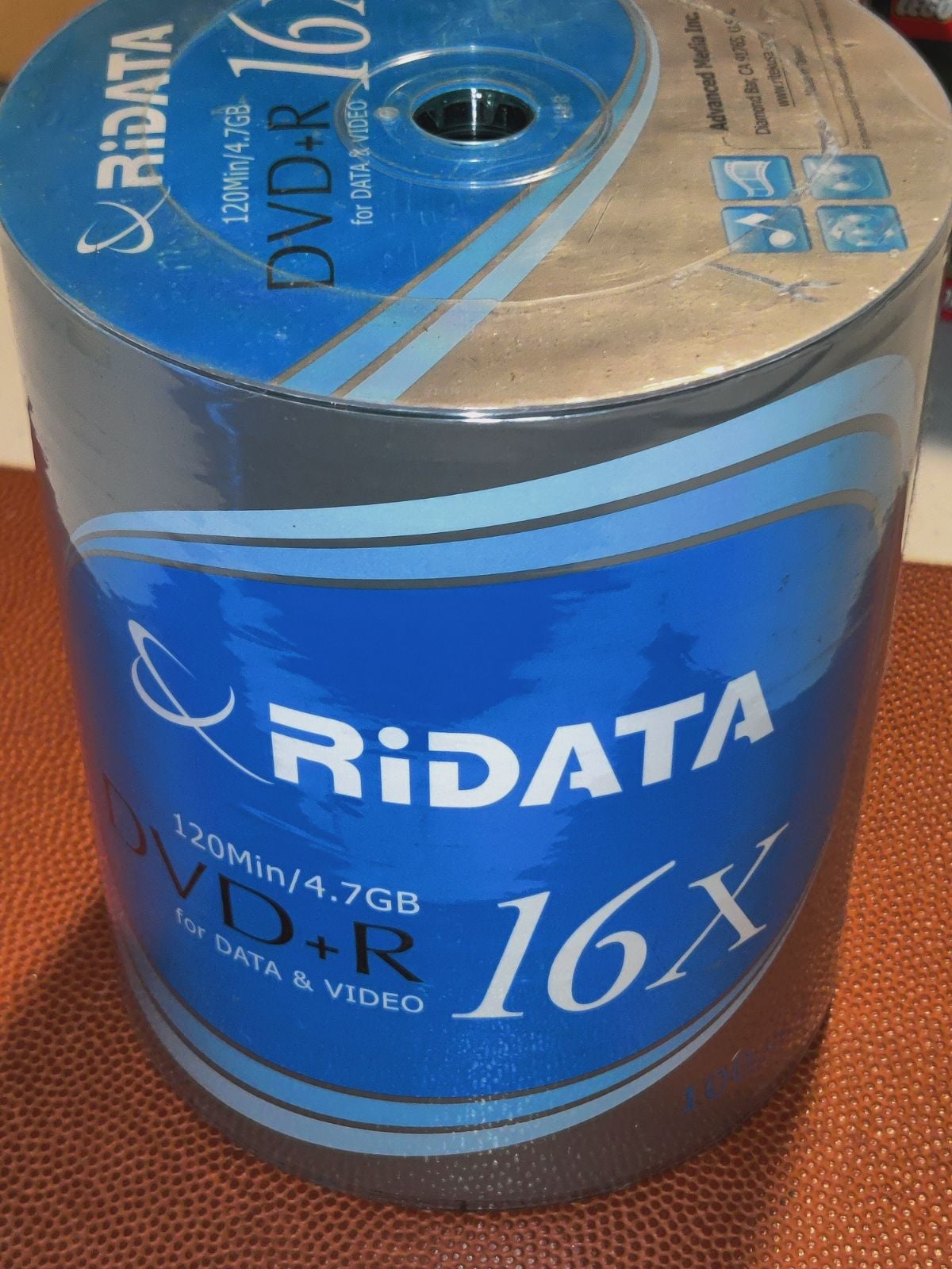Ridata dvd-r 100 recordable discs NEW