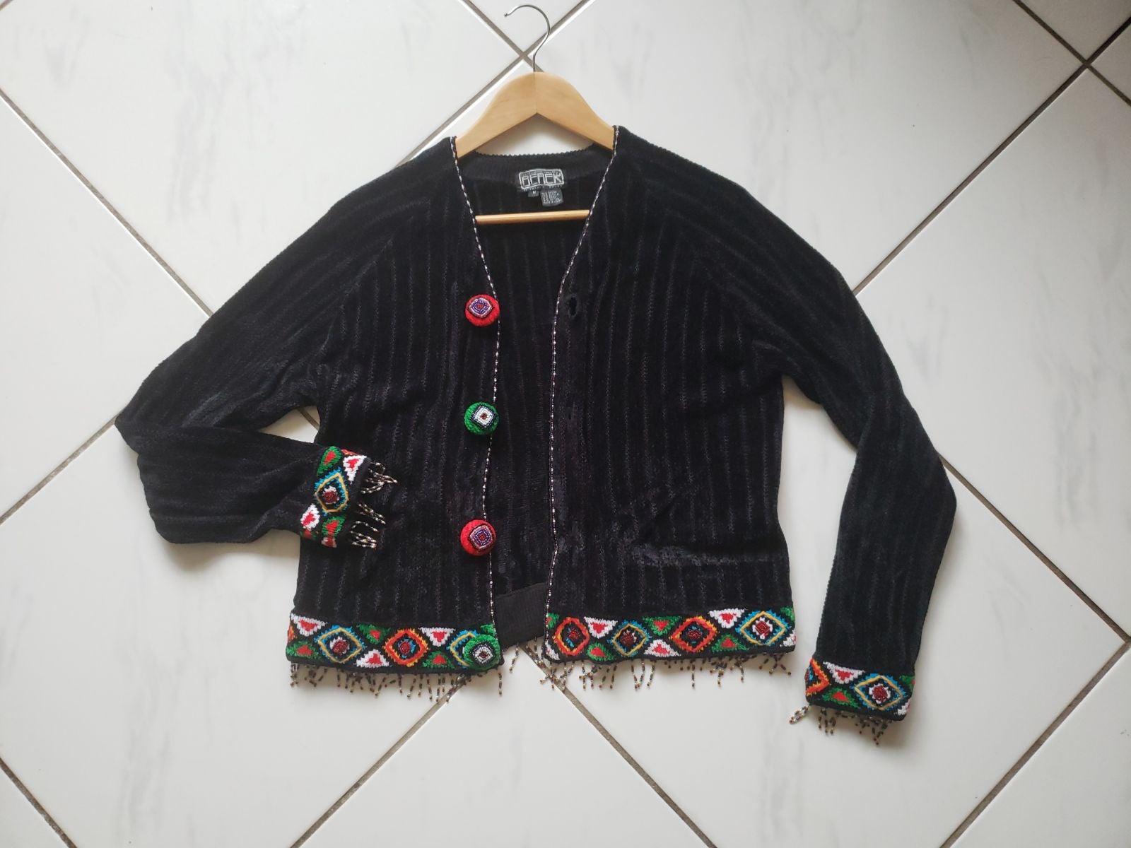 Berek Vintage Sweater Beaded Fringe Soft