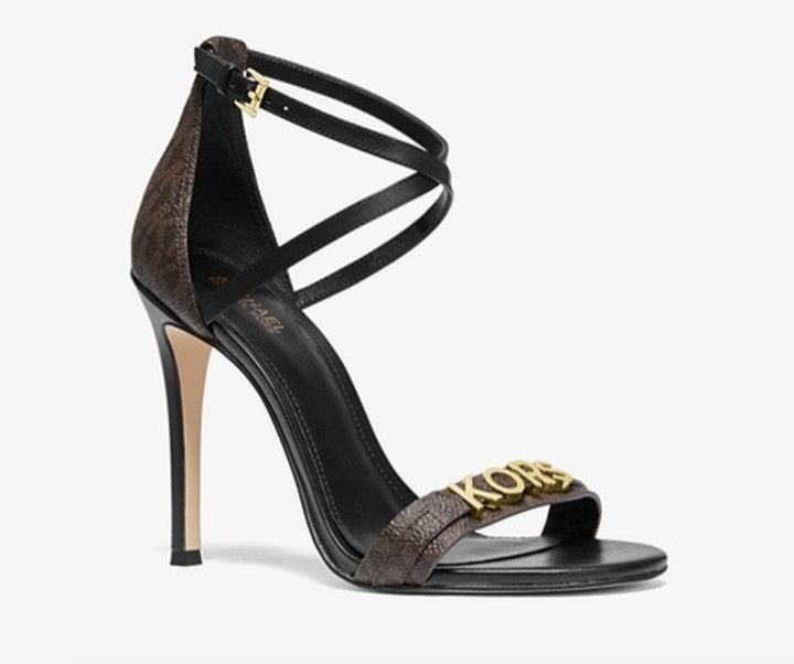 NEW Michael Kors gold Logo Heels Sandals