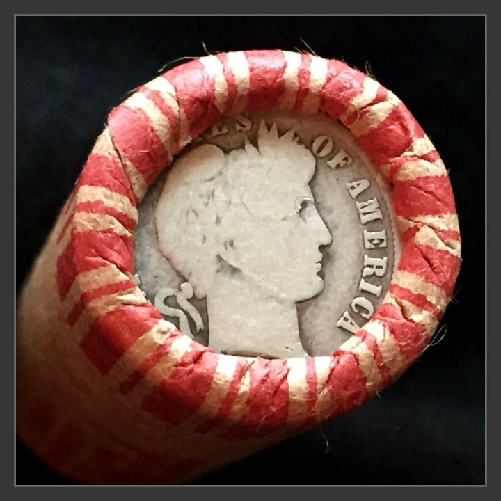 Wheat Penny Roll w/ Barber Dime On End