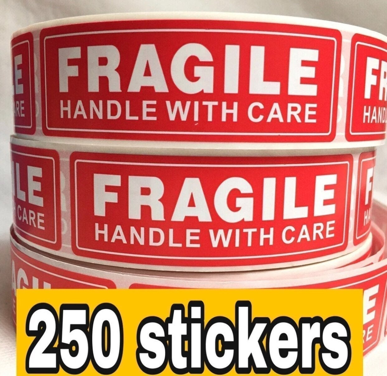 250 Fragile handle with care stickers