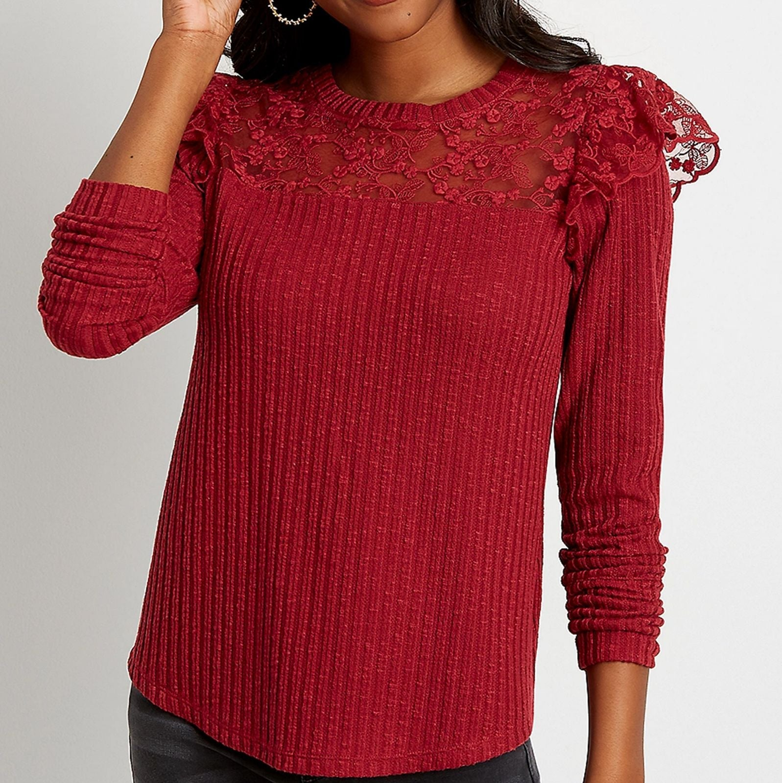Maurices Plus Womens Wine Lace Flutter
