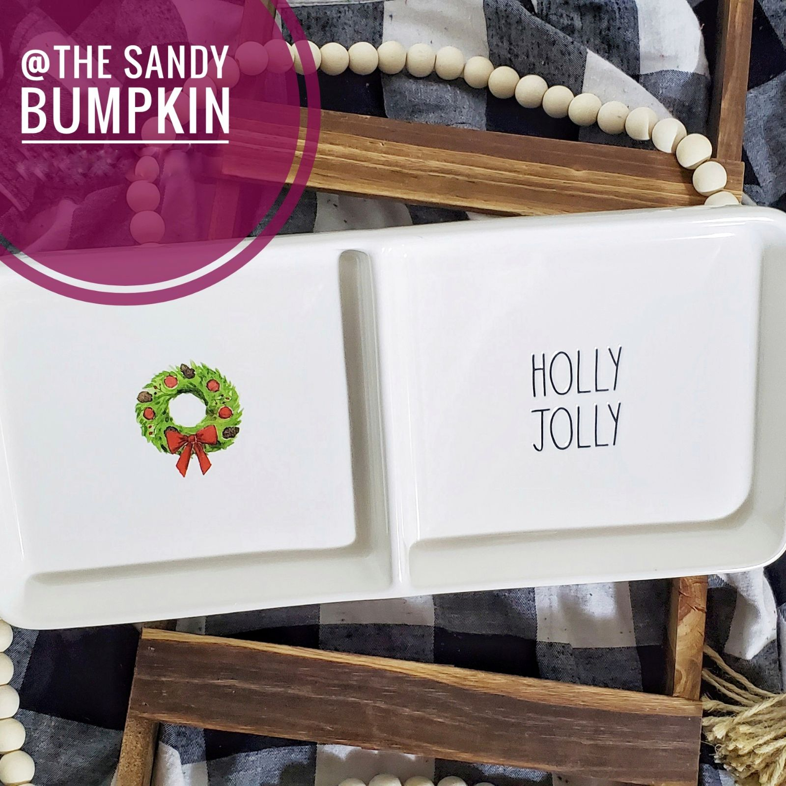 Rae Dunn Christmas HOLLY JOLLY Tray