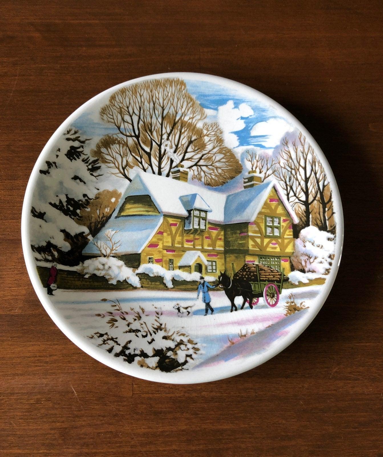 "7"" Ironstone Winter Scene Plate"
