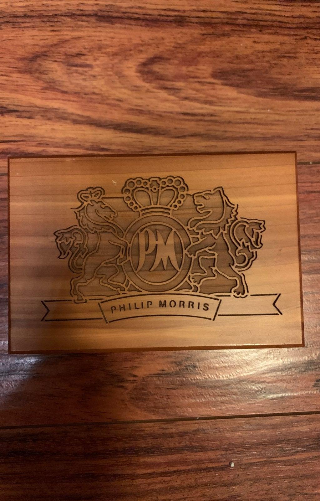 Phillip Morris engraved wooden box