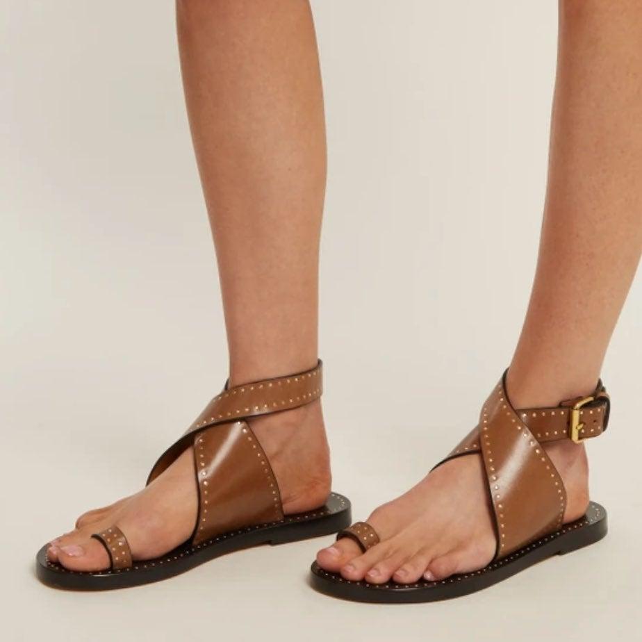 Isabel Marant jools studded leather sand