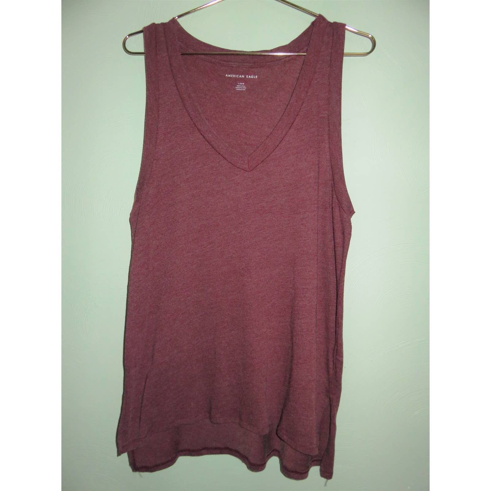 NEW AEO Burgundy V-Neck Relaxed Tank Top
