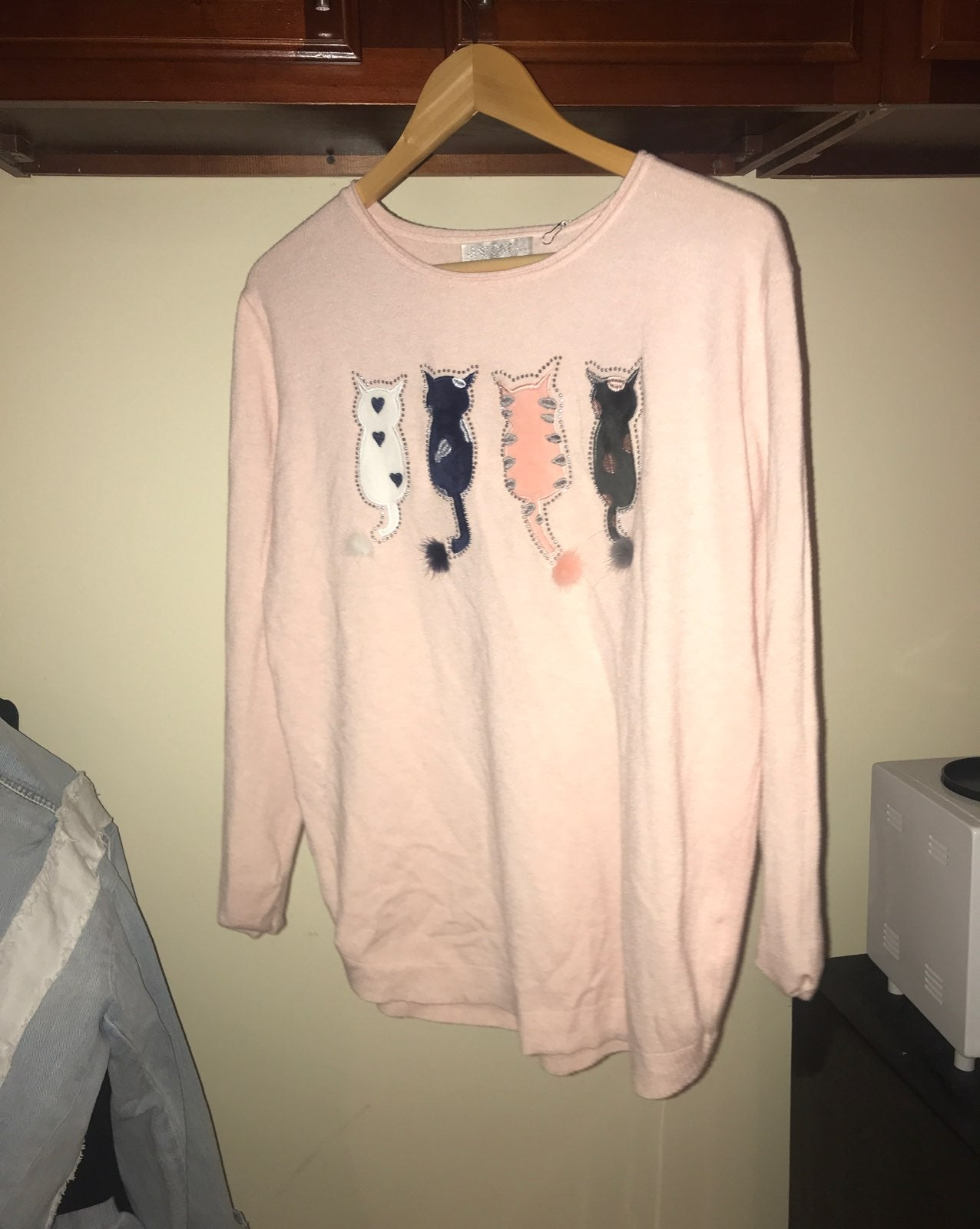pink kitty sweater S