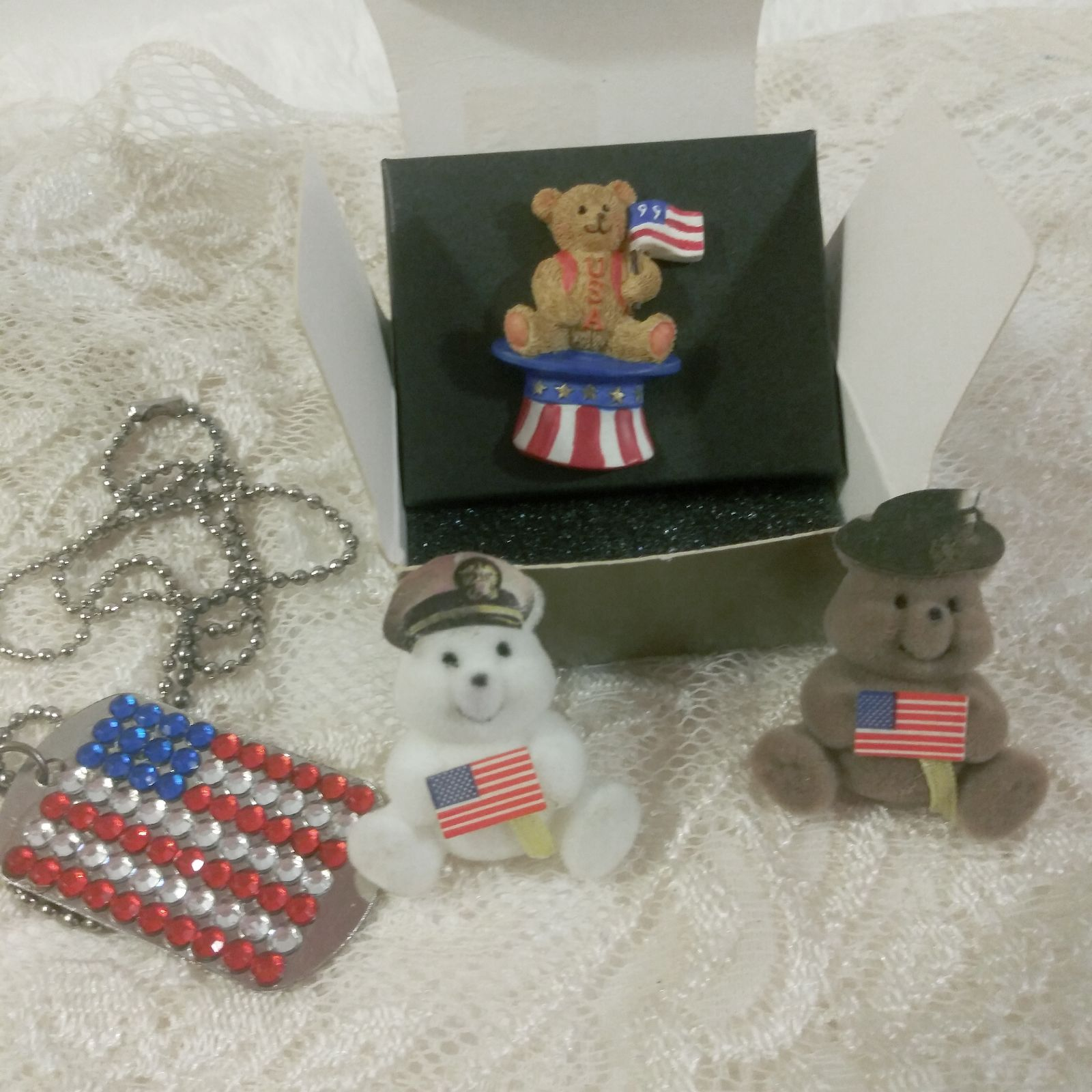 Patriotic Bears Pins and Dog Tag w/chain