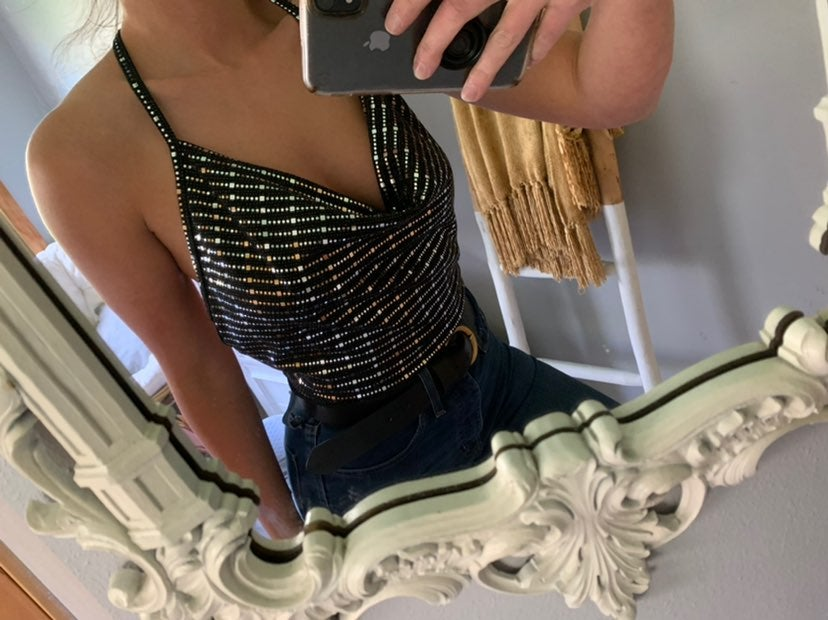 AKIRA Sparkly open back top