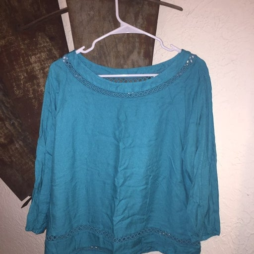 Ella Moss Teal Colored Cold Sleeved Top