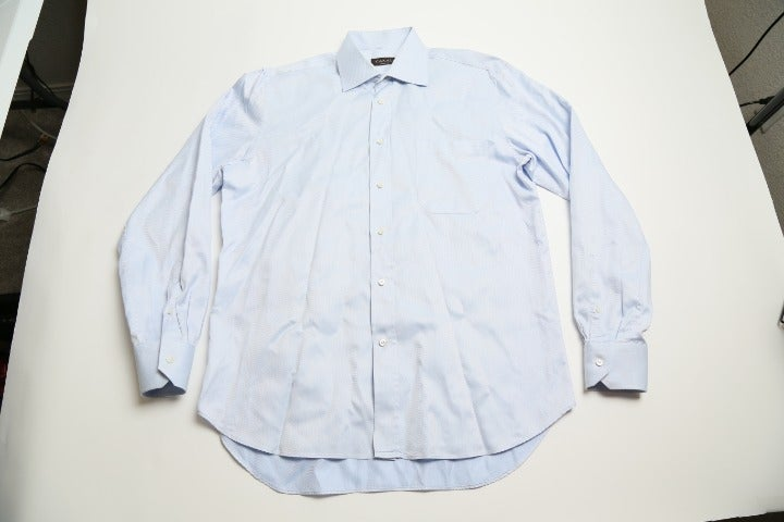 Men's CANALI 41/16 White Blue Shirt