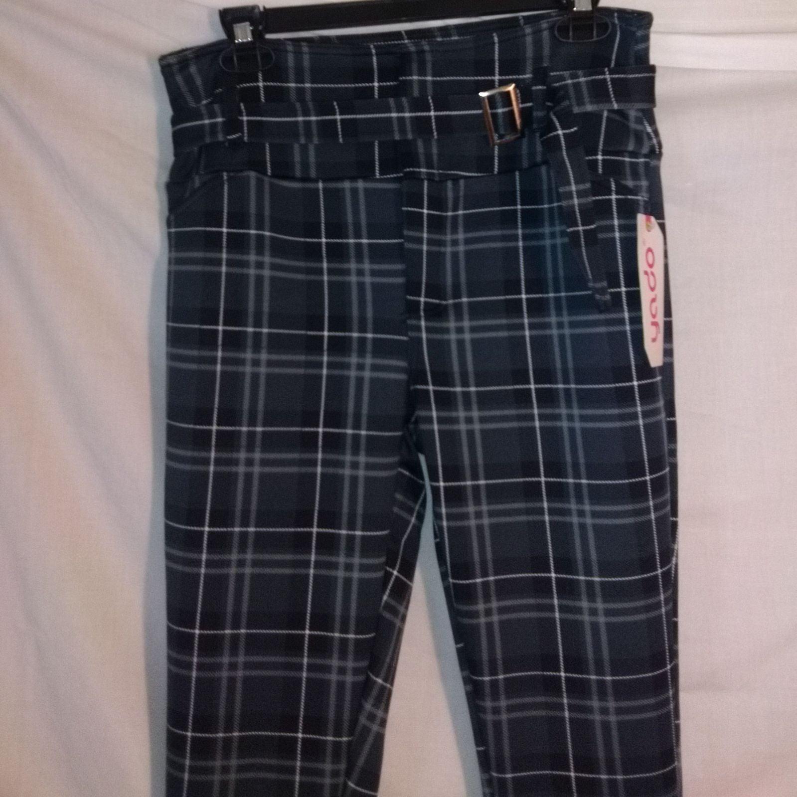 Black and grey/white plaid pants punk go