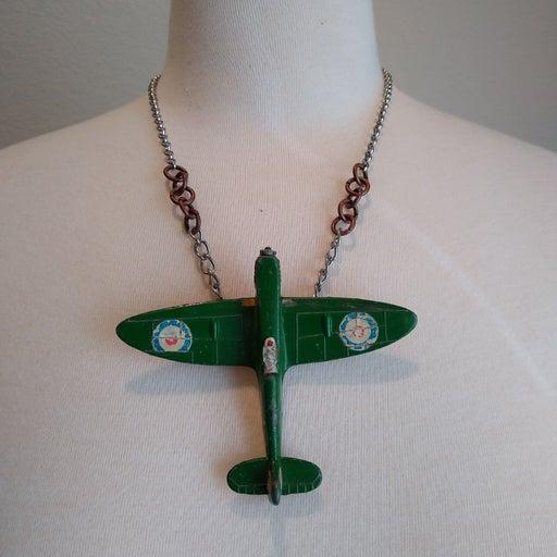 Handmade airplane necklace