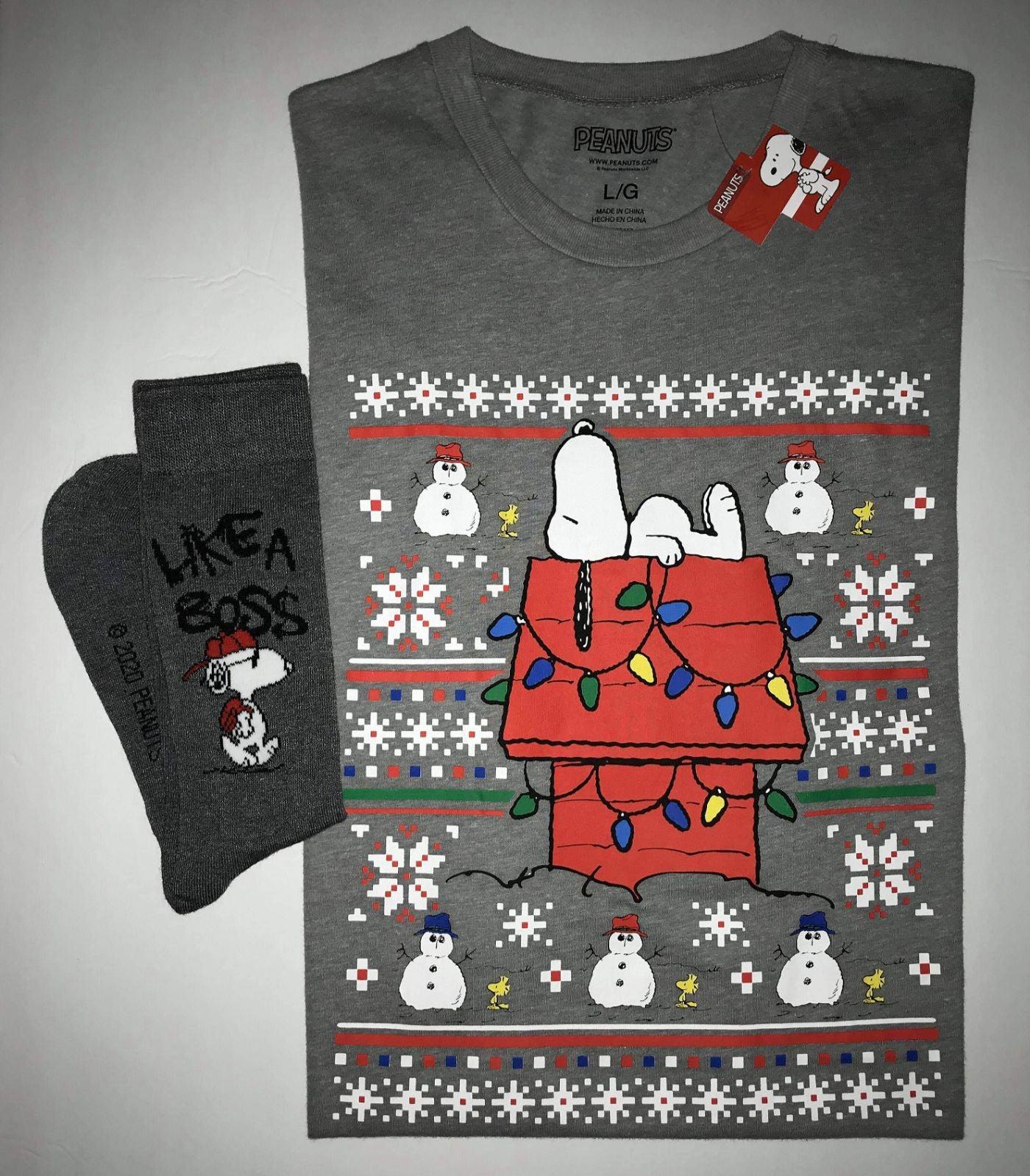 PEANUTS CHRISTMAS SNOOPY T-SHIRT & SOCKS