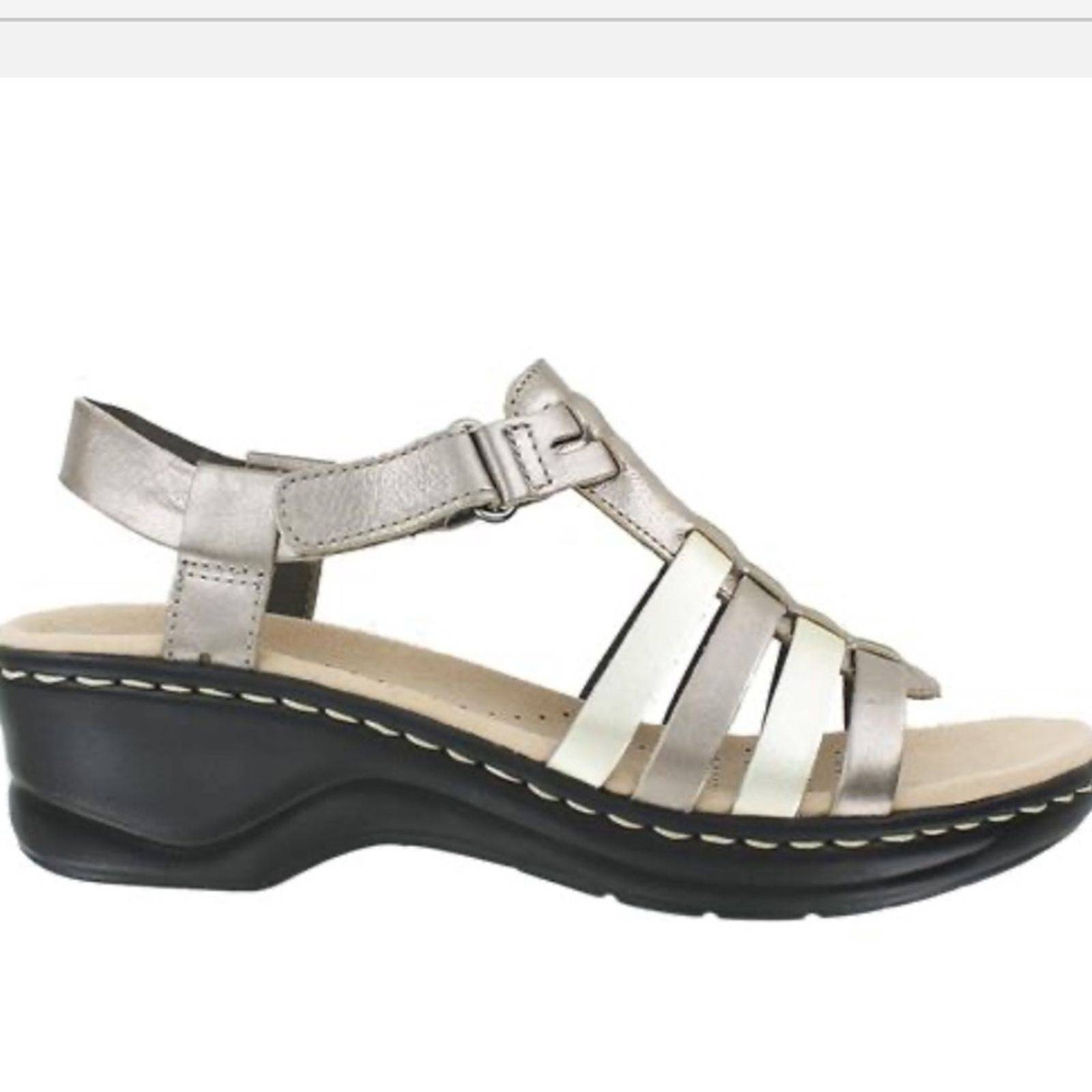 NWT: Clark Multi Leather Pewter Sandals