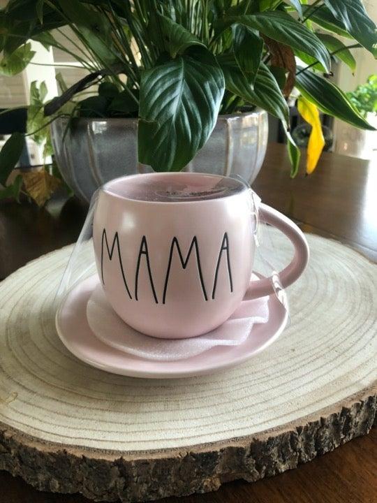 Rae Dunn pink MAMA Teacup & Saucer Set